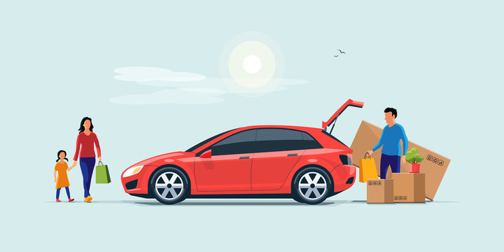 Flat vector illustration of a man with family coming from shopping and loading the car trunk with purchase carton boxes. Oversized big tv box doesn't fit. Isolated on blue background.