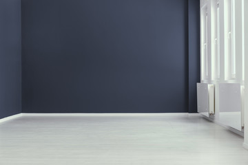 Empty minimal navy blue living room interior with copy space and grey floor. Real photo. Place for your sofa