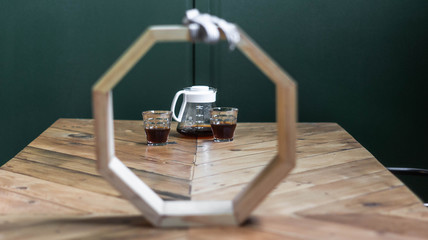 Coffee on table framed by octagon