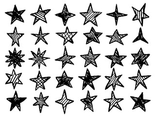 hand drawn stars vector collection
