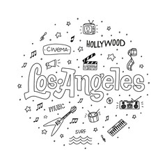 Los Angeles outline vector hand drawn doodle illustration with sign