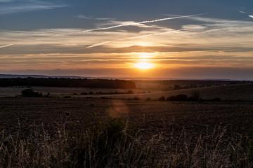 Couché de soleil sur la campagne de Moselle en France