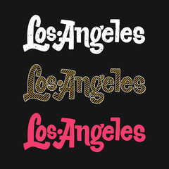 Los Angeles outline vector hand drawn sign variations