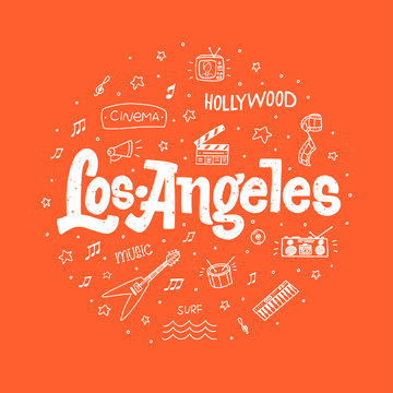 Los Angeles outline vector hand drawn doodle illustration with sign on red background with texture