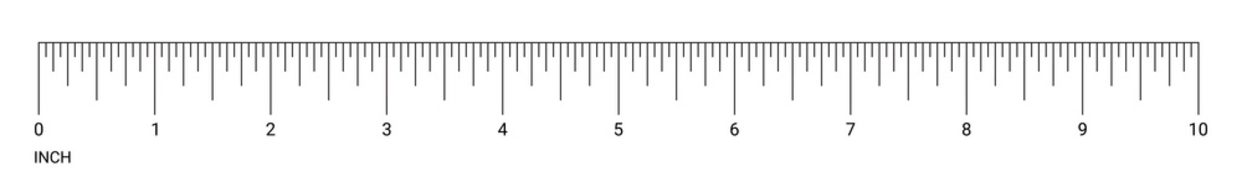 Ruler inch measurement numbers vector scale