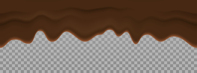 Bitter chocolate liquid texture. Vector dripping cream cocoa seamless background