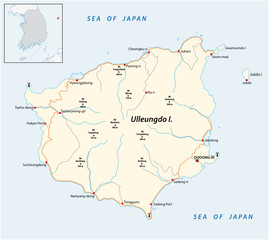 Ulleungdo Island road and outline vector map