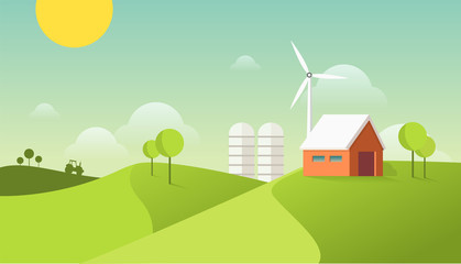 Eco village illustration. Organic farming concept. Modern flat design style. Barn house on the field with windmill and tractor.