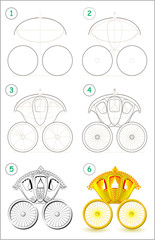 Page shows how to learn step by step to draw a ancient golden royal carriage. Developing children skills for drawing and coloring. Vector image.