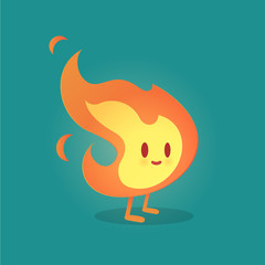 Cute smile fire cartoon character vector art against gray background.