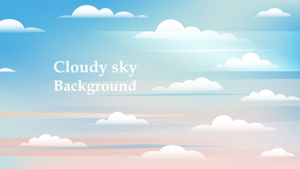 Sky and white clouds background. Sunny day sky. Background for web ads and banners and place for text