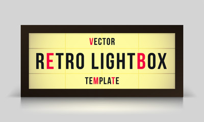 Marquee retro lightbox signage vector template