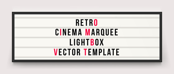 Retro cinema marquee lightbox vector template