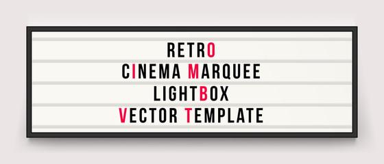 Retro cinema marquee lightbox vector template