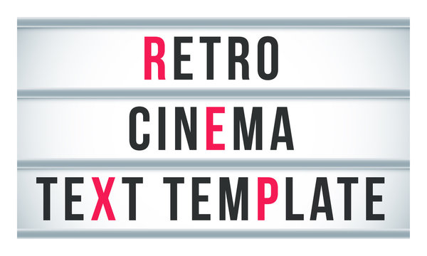 Marquee sign lightbox signage. Vector retro cinema or theater signboard billboard