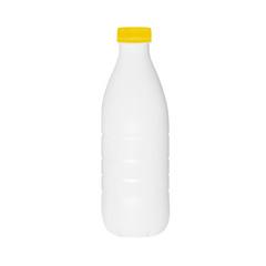 Plastic bottle of milk or kefir in vector on white background.