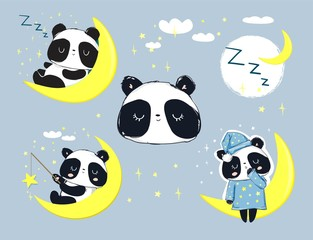 Cute Panda Bear sleeping on the moon set. Vector Illustration
