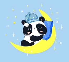 Cute Panda Bear Sleeping on the Moon. children's illustration.