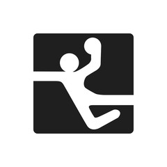 handball black square logo symbol on white background simple man with ball