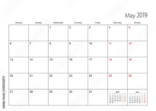 May 2019 simple calendar planner, week starts from Monday