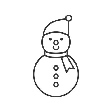 snowman outline icon, winter and Christmas theme
