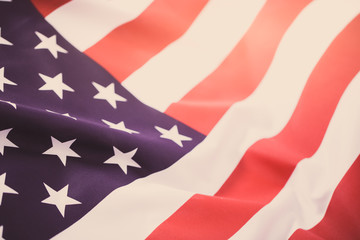 Vintage photography of United State of America fabric made flag.
