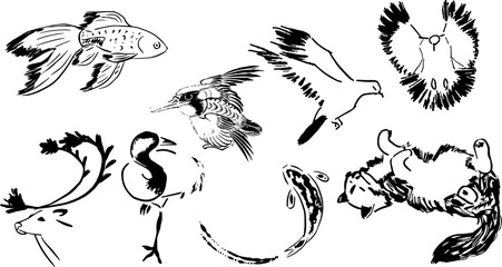 水墨画風の動物のイラスト