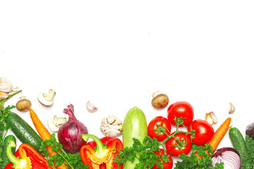 Healthy eating background. Food photography different vegetables on white background. Copy space.