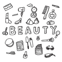 Vector doodle sketch of women beauty concept on white background. Doodle art  collection design.