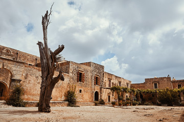 The main church of Arkadi Monastery, symbol of the struggle of Cretans against the Ottoman Empire, Rethymno, Crete, Greece.