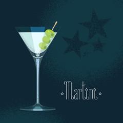 Martini cocktail glass vector illustration
