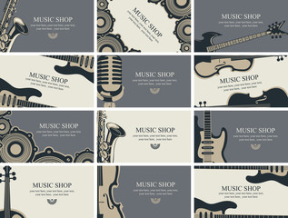 Vector set of twelve horizontal business cards for music shop with musical instruments and other music equipment