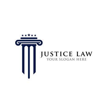justice law logo design template. pillar and star shape illustration