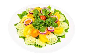 Fresh vegetable salad with Portulaca oleracea