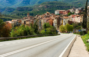 Road leading to the town of Monistrol de Montserrat. Catalonia. Spain