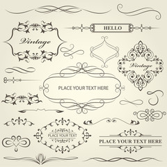 Vintage frames, vignettes and calligraphy dividers and separators set