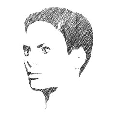 Human head silhouette. Face half turn view. Elegant silhouette of part of human face. Ink sketch effect