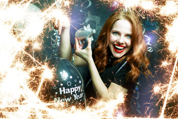 Happy New Year Girl with red hair