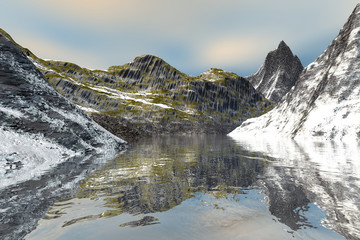 Beautiful lake, an alpine landscape, snowy mountains, wonderful waters and clouds in the sky.