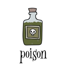 Poison vector hand drown cartoon bottle with skull