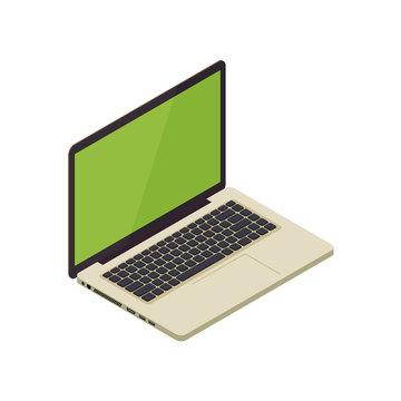 Gold isometric vector notebook laptop illustration