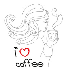 I love coffee card - girl with cup of coffee