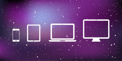 Device Icons: smartphone, tablet, laptop and desktop computer. Star universe background. Vector illustration