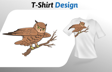 Cute brown owl sitting on a branch t-shirt print. Colorful mock up t-shirt design template. Vector template, isolated on white background.