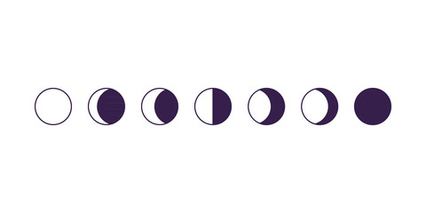 Moon phases. Vector illustration, flat design