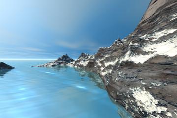 Snowy mountain, a polar landscape, rocks, wonderful sea and a blue sky.