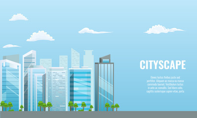 Vector Cityscape with different buildings - office center. Advertising layout. Flat and solid color style.