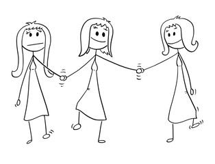 Cartoon stick drawing conceptual illustration of homosexual couple of two lesbian women walking together and holding each others hand. One of them is also holding hand of another woman, probably