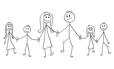 Cartoon stick drawing conceptual illustration of big family. Parents, man and woman and four children, boy and girl are walking while holding hands.