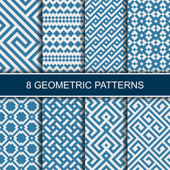 Set of vector geometric patterns. Collection of seamless patterns for your design.